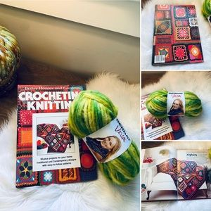 🦋2/$10 3/$15 4/$18 5/$20 Vintage 70s Crochet Book and Yarn Set
